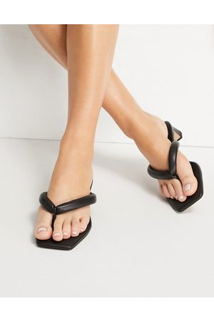 & OTHER STORIES Leather padded thong heeled sandals in black