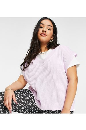ASOS ASOS DESIGN Curve knitted tank with v neck in lilac-Purple