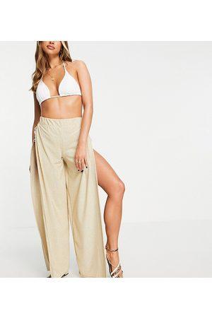 AsYou Flared split side beach trousers in gold