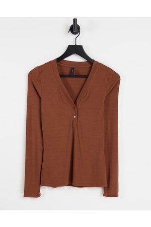Y.A.S Long sleeve t-shirt with button detail in rust-Orange