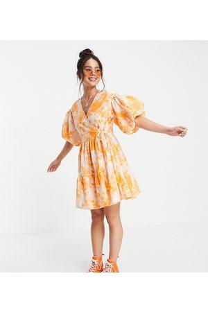 COLLUSION Broderie mini wrap dress in acid wash in white and orange