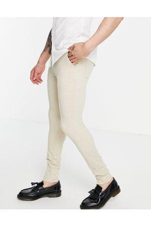 ASOS Skinny smart trouser in stone waffle-Neutral