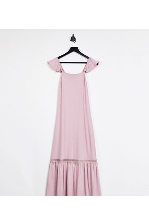 ASOS Petite frill sleeve maxi sundress with lace inserts in rose-Pink