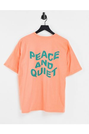 ASOS Oversized t-shirt with peace and quiet graphic in coral-Orange