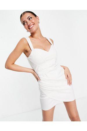 ASOS Bonded linen corset seamed wrap mini dress in ivory-White