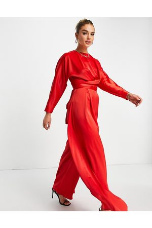 ASOS Co ord tie wrap front top with long sleeves in red