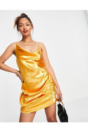 ASOS Drape slip mini dress in high shine satin-Orange