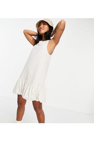 ASOS Petite bubble hem v back sleeveless dress in stone-Neutral