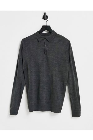 French Connection Long sleeve polo in dark grey