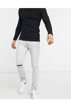 Topman Organic cotton blend stretch skinny jeans with double knee rip in ice grey