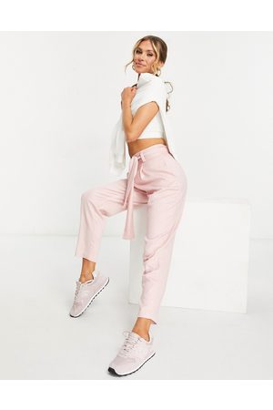 ASOS Belted tapered linen trousers in pink