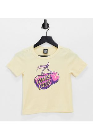 Santa Cruz 90s fitted t-shirt with cherry graphic in yellow-White