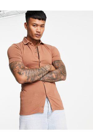 ASOS Organic button through jersey shirt in brown