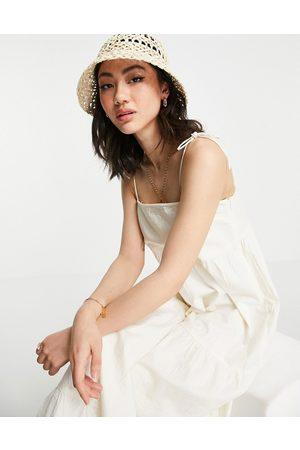 Pretty Lavish Tie shoulder tiered sundress in white