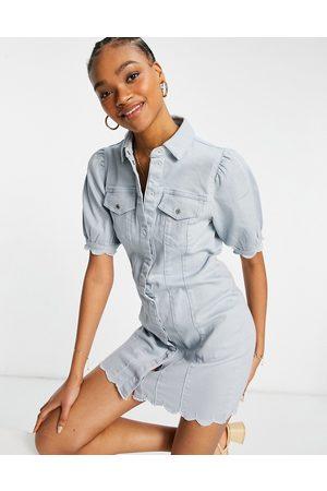 VERO MODA Denim mini dress with puff sleeves and scallop hem in light blue