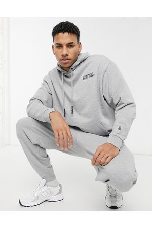 ASOS Oversized tracksuit in grey marl with embroidery