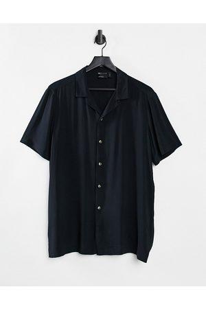 ASOS Regular fit viscose shirt with revere collar in black