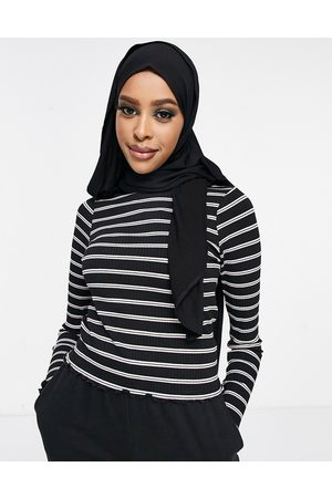 ASOS Long sleeve top in rib with pink and black stripe-Multi