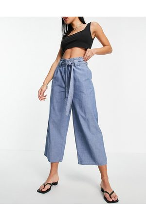 VERO MODA Organic cotton blend chambray culottes with belted waist in blue