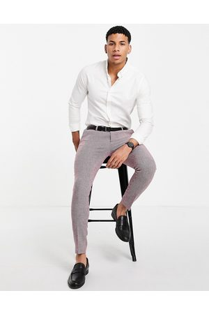 ASOS Wedding super skinny wool mix suit trousers in burgundy puppytooth-Red