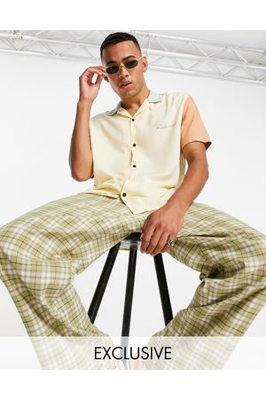 Reclaimed Inspired relaxed shirt with revere collar in colour block-Multi