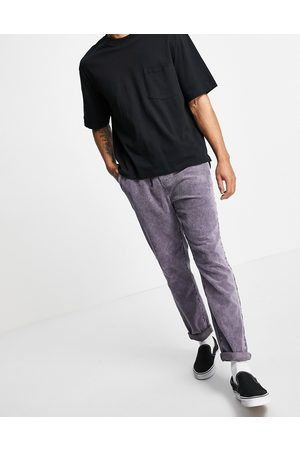 ASOS Cord slim trousers with elasticated waist in purple acid wash