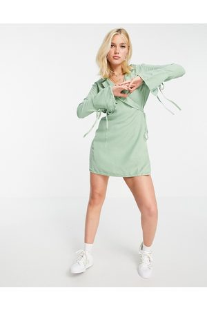 ASOS Soft denim wrap dress in sage-Green