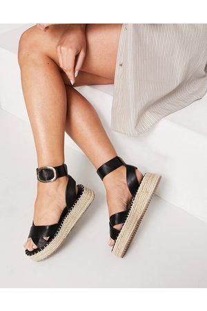 ASOS Justice flatform espadrille sandals in black