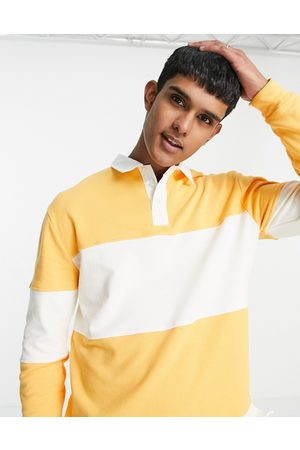 Topman Herre Langermede - Striped rugby polo in yellow & white-Multi