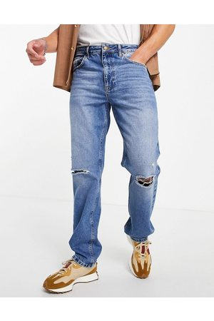 ASOS Herre Straight - Straight leg jeans in vintage mid wash with knee rips-Blue