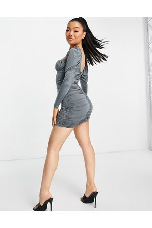 ASOS Slinky long sleeve ruched bust mini dress in grey