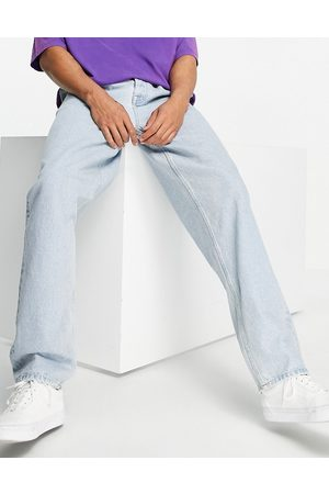 ASOS Herre Straight - Baggy jeans with double pleat and elastic waist detail-Blue