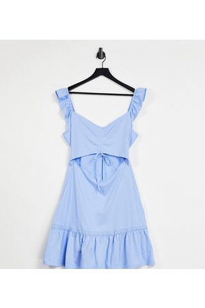 ASOS Tall cut out sundress with ruffle shoulder in chambray blue