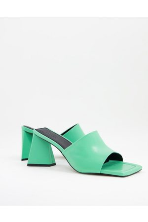 ASOS Healing premium leather mid heeled mules in green