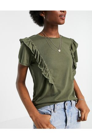JDY T-shirt with frill detail in khaki-Green