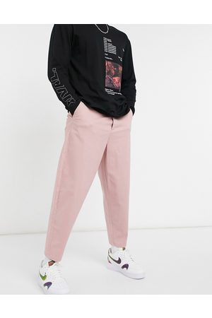 ASOS Herre Chinos - Oversized tapered chino trousers in pink