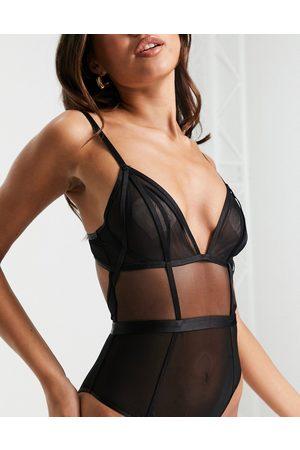 ASOS Dame Lingerie - Ari minimal mesh body with angled elastic in black