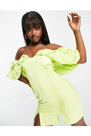 Lashes of London Puff sleeve mini dress with lace in lime-Green