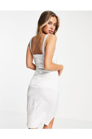 Love & Other Things Satin ruched front split bodycon dress in off white