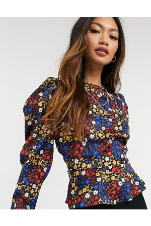 ASOS Long sleeve volume sleeve top in bright floral print-Multi