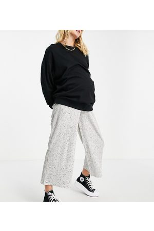 ASOS ASOS DESIGN Maternity over the bump culotte trouser in rib with tie waist in white marl