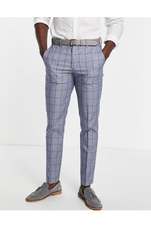 SELECTED Slim suit trouser in blue check