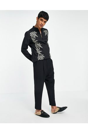 ASOS Drop crotch skinny smart trousers in black