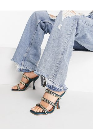 ASOS Nally chain detail heeled mules In teal-Blue