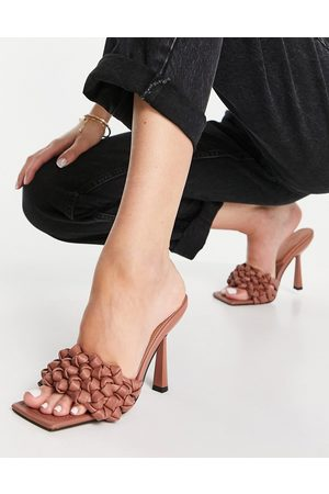 ASOS Nuno knotted high heeled mules in -Neutral