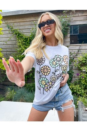 New Love Club Oversized t-shirts with flowers graphic in grey