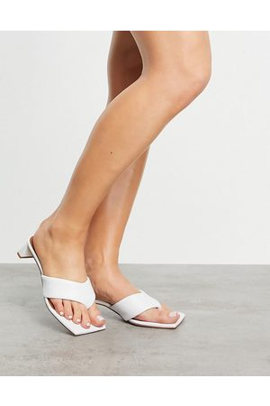 ASOS Hydra premium leather toe thong heeled sandals in white-Neutral