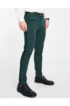 ASOS Super skinny tuxedo in dark green suit trousers-Red