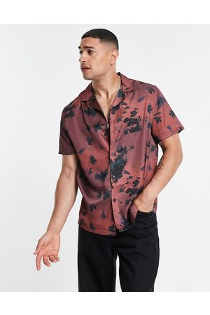 ASOS Relaxed revere satin shirt in all over floral print-Red