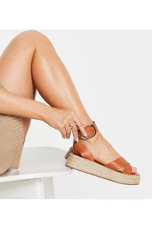 ASOS Wide Fit Justice flatform espadrille sandals in tan-Brown